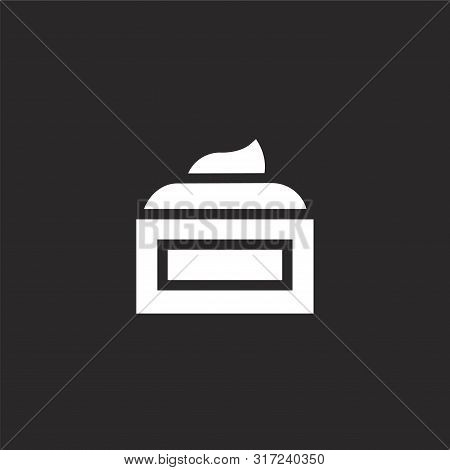 Cream Icon. Cream Icon Vector Flat Illustration For Graphic And Web Design Isolated On Black Backgro