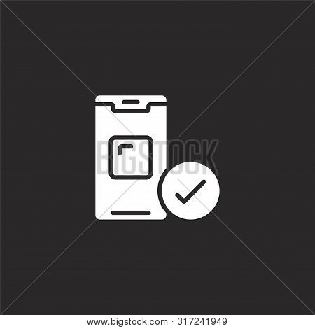 Approved Icon. Approved Icon Vector Flat Illustration For Graphic And Web Design Isolated On Black B