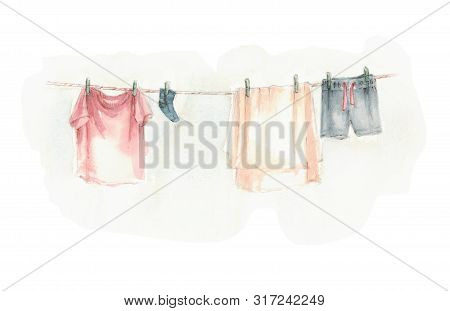 washed laundry dries hanging, hang it there poster