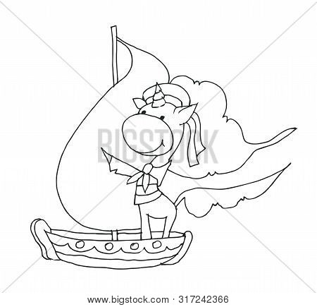 Coloring Book For Kids - Unicorn Smiling And Floating On A Ship In The Form Of A Sailor. Black And W