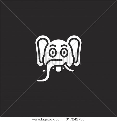 Elephant Icon. Elephant Icon Vector Flat Illustration For Graphic And Web Design Isolated On Black B