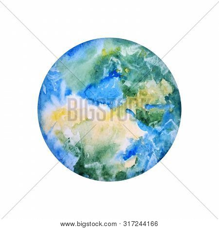 Earth Hand Drawn. Globe In Watercolor Texture. Illustration Of World Map Paint Splash Isolated On Wh