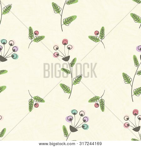Modern Vintage Linocut Style Pink, Blue Flowers And Green Leaves With Offset Color. Seamless Vector