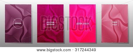 Colorful Cover Templates Set. Fluid Curve Shapes Geometric Lines Patterns. Gradient Backgrounds For