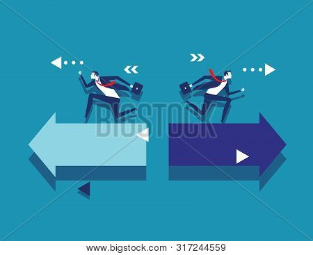 Business People And Different Way. Concept Business Vector Illustration. Flat Design Style.