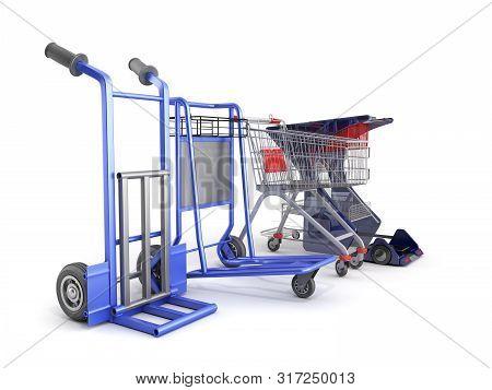 A Set Of Supermarket Trolleys For Different Loads 3d Render On White