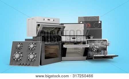 Home Appliances Built In Group Of White 3d Render On Blue Gradient