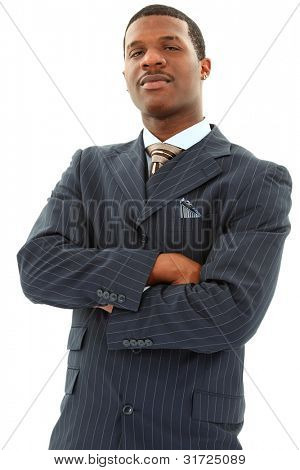 Attractive Black Male In A Pinstripe Suite With His Arms Crossed Over White Background