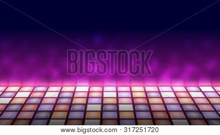 Illuminated Dance Floor A Background Vector Illustration, 80s Retro Style Disco Empty Dance Floor, N