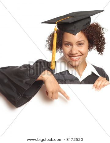 Grad Pointing At Copy Space
