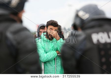 Bregana, Slovenia - September 20, 2015 : A Front View Of A Male Syrian Refugee On The Blocked Sloven