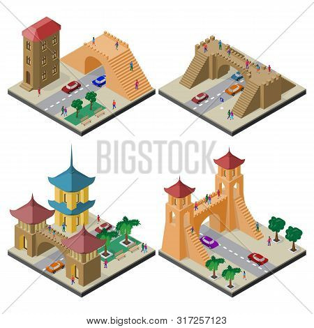 Set Of Isometric Cityscapes With Roadway And Pedestrian Bridge.