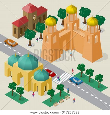 Isometric Cityscape Of Buildings, Temple, Fortress Wall With Towers, Roadway, Cars And People.
