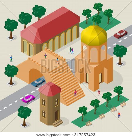 Isometric Cityscape Of Buildings, Pedestrian Bridge, Roadway, Cars And People.