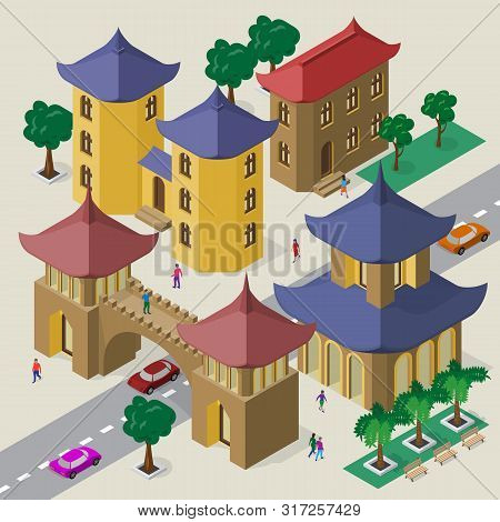 Isometric East Asian Cityscape Of Buildings, Pagoda, Pedestrian Bridge, Roadway, Cars And People.