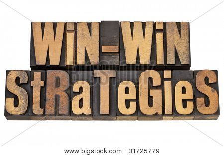 win-win strategies - negotiation or conflict resolution concept - isolated words in vintage wood type