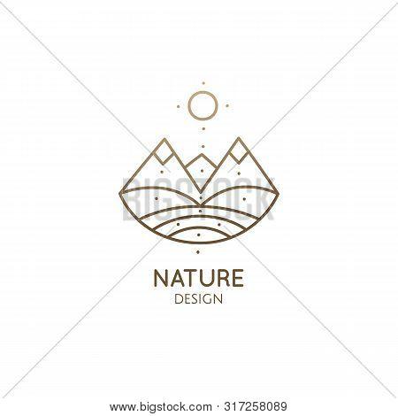 Modern Esoteric Abstract Logo Mountain Landscape. Zen Minimal Symbol Of Sacred Pyramides. Natrural S