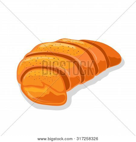 Fresh Crescent Roll Or Croissant. Viennoiserie Pastry Of Austrian Or French Cuisine. Sweet Breakfast