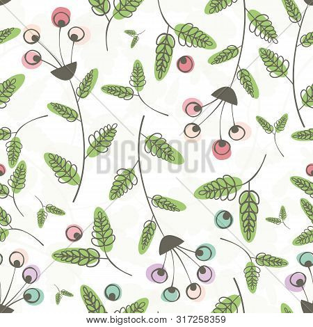 Linocut Style Pink, Blue Flowers And Green Leaves With Offset Color. Seamless Vector Pattern On Tran