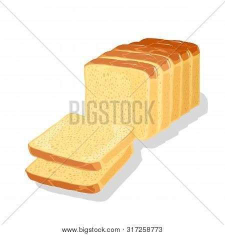 Wheaten White Bread Cutted To Slices, Pieces For Eaten, Toasts, Sandwiches, Sarnies. Carbohydrate So