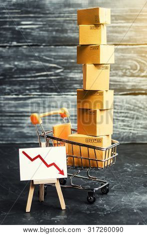 Shopping Cart Filled With Boxes And A Stand Sign With A Red Down Arrow. Decline In The Production Of