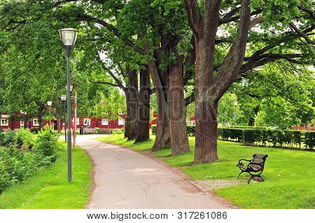 Peaceful Path In City Park Of Orebro On Summer