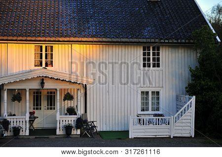 Facade Of Traditional Scandinavian House In Norway