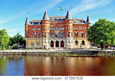 Facade Of Historical Building By The River In Orebro, Sweden