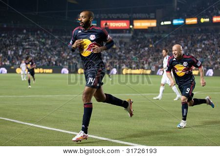 CARSON, CA. - MAY 7: New York Red Bulls F Thierry Henry #14 (L) celebrates an early goal with New York Red Bulls F Luke Rodgers #9 (R) during the MLS game on May 7, 2011 at the Home Depot Center.