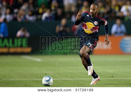 CARSON, CA. - MAY 7: New York Red Bulls F Thierry Henry #14 in action during the MLS game between the New York Red Bulls & the Los Angeles Galaxy on May 7, 2011 at the Home Depot Center.