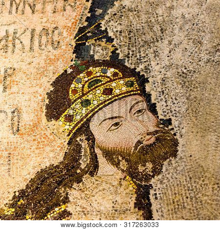 Mosaic Of The Byzantine Emperor Isac I Komnenos In Chora Church, Istanbul, Oct 11, 2013, He Was Crow