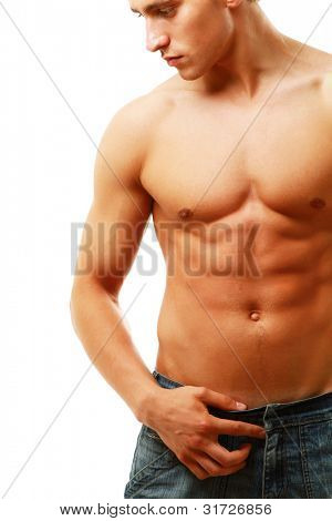 Strong man with a helathy body isolated over white bac