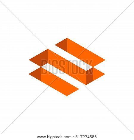 Orange Color Letter N Logo. Isometric Geometric Shape, 3d Icon Design - Vector