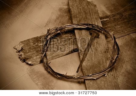 closeup of a representation of the Jesus Christ crown of thorns, cross and nail
