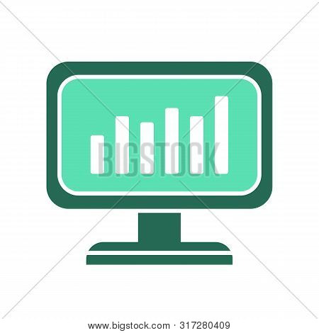 Data Analytics Icon. Computer Screen Symbol. Pc Monitor Sign. Flat Style Illustration - Vector