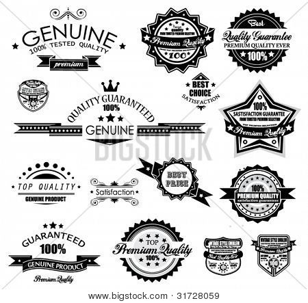 Premium Quality Labels - Collection of retro vintage labels with several slogans: Best Choice, Premium Quality, Top Choice and so on.
