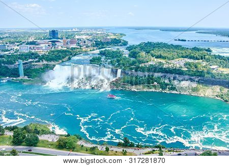 Beautiful Niagara Falls In Summer On A Clear Sunny Day, View From Canadian Side. Niagara Falls, Onta