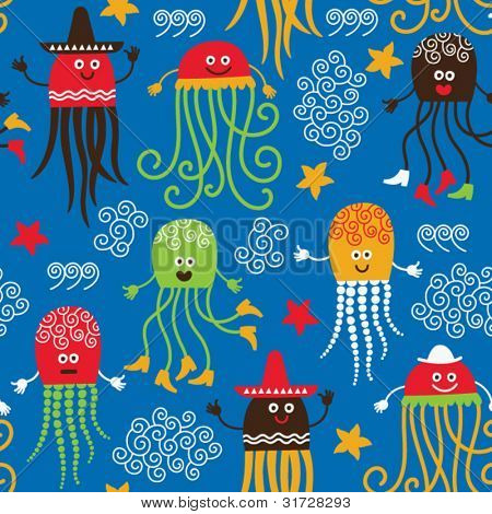 seamless pattern with funny octopuses