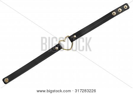 Black leather choker necklace with golden heart isolated over white poster