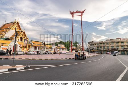 The Giant Swing Or Sao Ching Cha The  Landmark Of Bangkok City. Thailand: 03/07/2019
