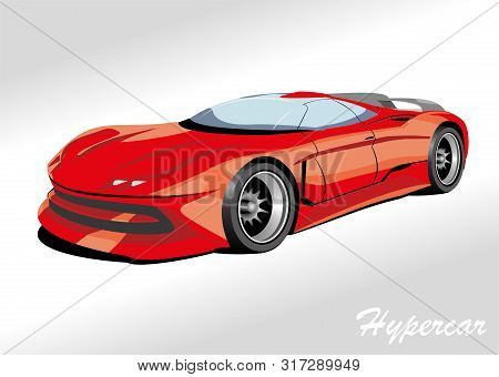 Hypercar In Red. Template For The Sign Of The Garage. Vector Illustration