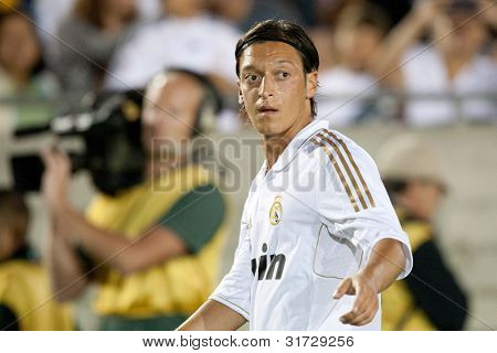 LOS ANGELES - JULY 16: Real Madrid C.F. M Mesut Ozil #23 during the World Football Challenge game on July 16 2011 at the Los Angeles Memorial Coliseum in Los Angeles.