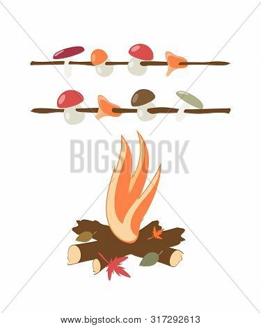 Mushrooms Are Fried On An Autumn Fire. Isolated Vector Image. Eps 10