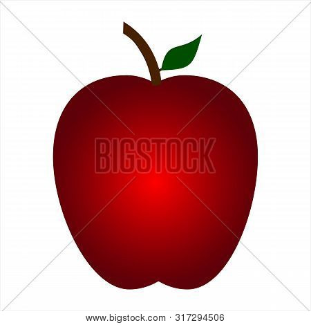Red Apple Icon Isolated On White Background, Red Apple Fruits Vector Icon, Apple Icon Image, Red App