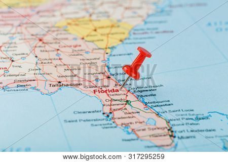 Red Clerical Needle On A Map Of Usa, South Florida And The Capital Tallahassee. Close Up Map Of Sout