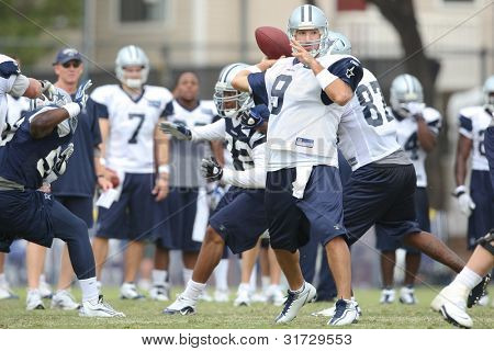OXNARD, CA. - AUG 15: Dallas Cowboys QB (#9) Tony Romo during the second day of the 2010 Dallas Cowboys Training Camp on Aug 15 2010 in Oxnard, California.