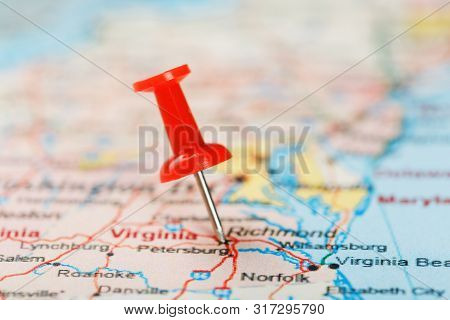 Red Clerical Needle On A Map Of Usa, South Virginia And The Capital Richmond. Close Up Map Of South