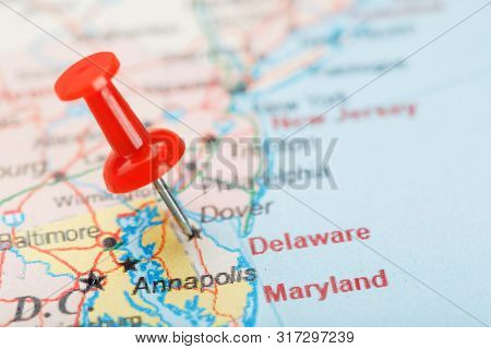 Red Clerical Needle On A Map Of Usa, South Delaware And The Capital Dover. Close Up Map Of Delaware