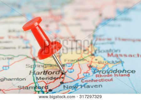 Red Clerical Needle On A Map Of Usa, Connecticut And The Capital Hartford. Close Up Map Of Connectic
