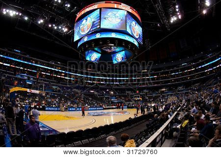 LOS ANGELES - MARCH 10: A view of the Pac-10 Tournament court before the NCAA Pac-10 Tournament basketball game on March 10 2011 at Staples Center.